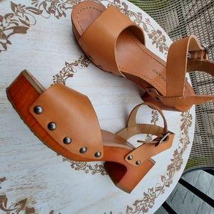 Lucky brand sandals leather upper brownish orange